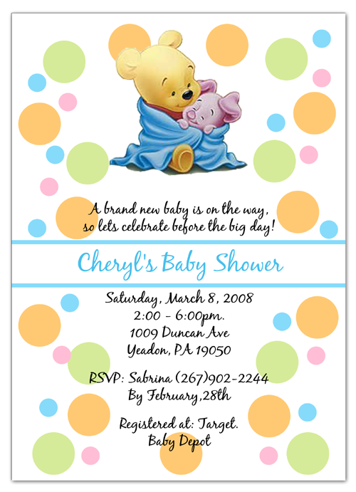 Winnie The Pooh Piglet Baby Shower Invitations Baby Bear Baby Shower Baby Shower Invitations Diy Elegant Baby Shower Invitation