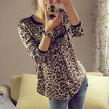 Mujeres Leopard Print blusa suelta – USD $ 19.19