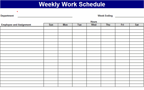 Weekly Work Schedule Templates Free Download Work Pinterest