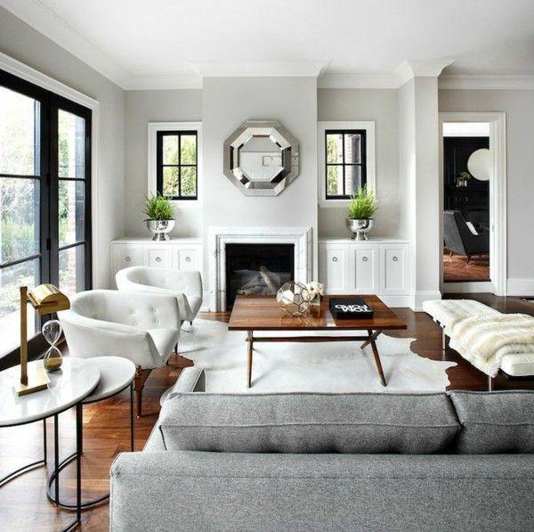 Living Room Wall Color Light Grey Fur Carpet Wood Floor Fireplace  (600×597)