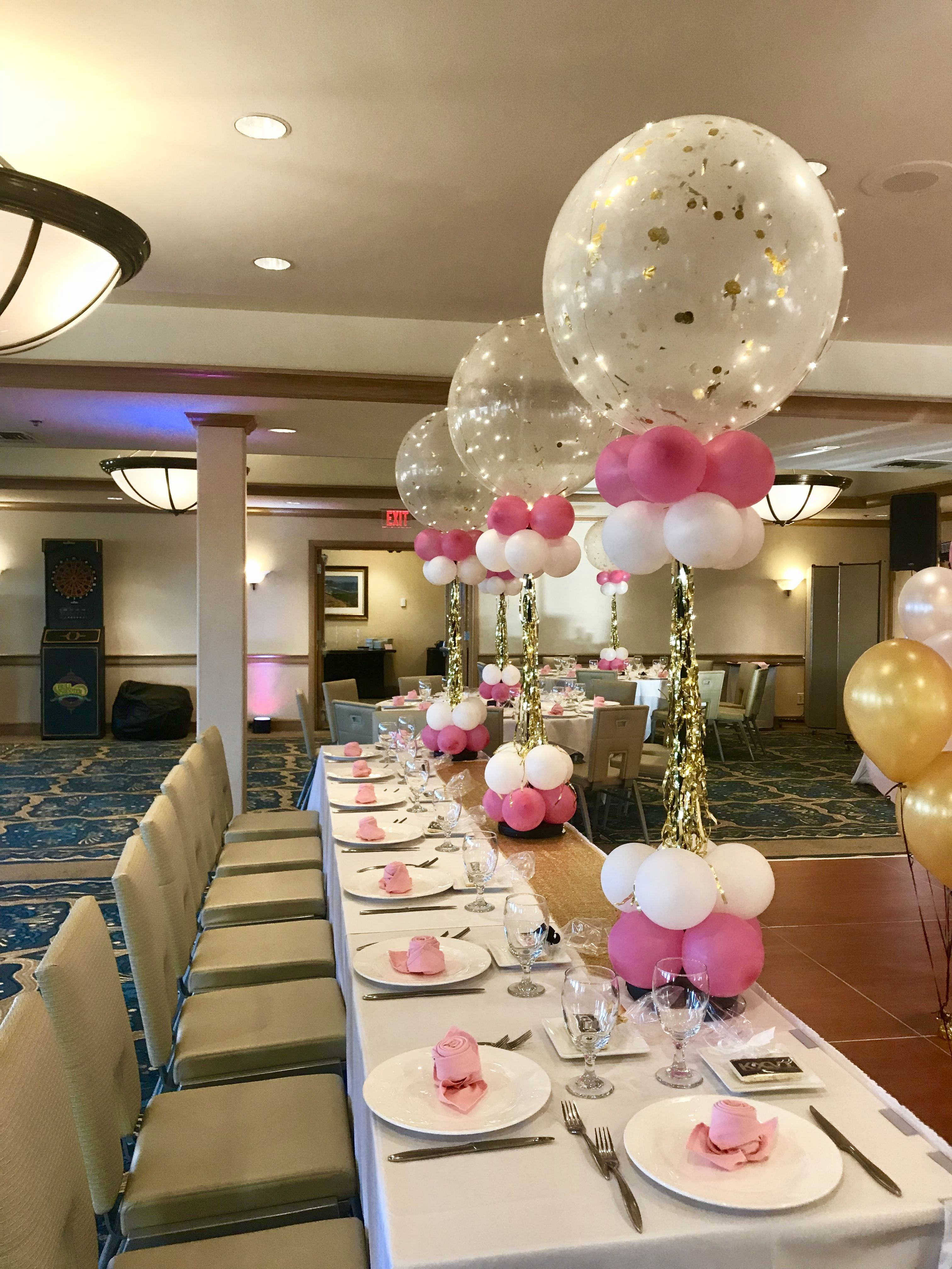 Jumbo Balloon Centerpieces Pink And Gold Party Ideas Centerpiece