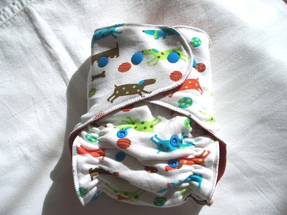 One Size Stay Dry Overnight Fitted Cloth Diaper in Polka ...