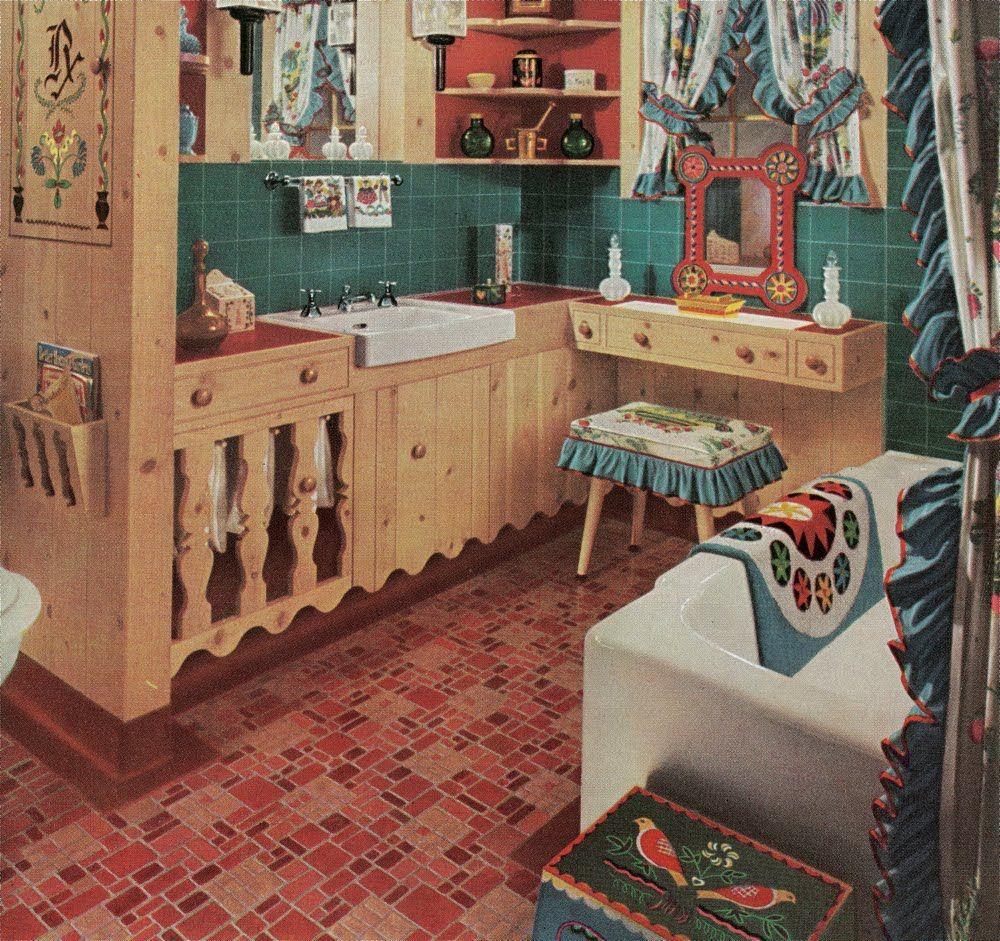 Kitchen Folk Art: Folk Art Kitchen From A 1950's Armstrong Linoleum Brochure