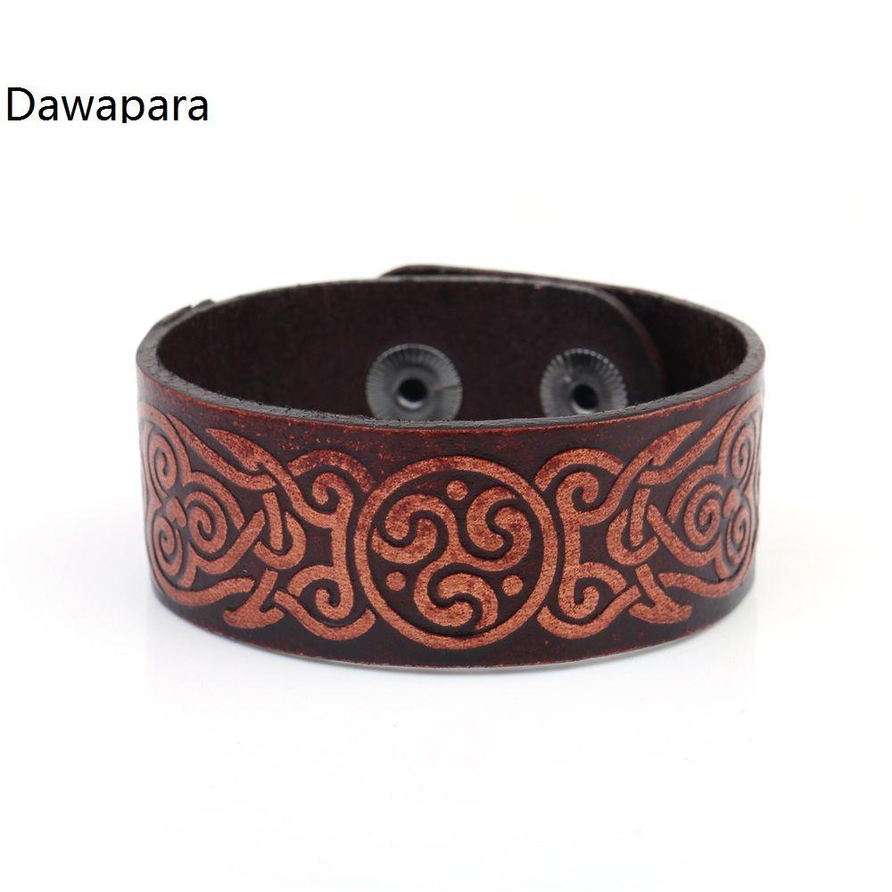 Dawapara wicca badge handmade red wide studded cuff wristband menus