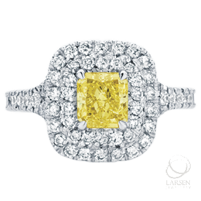 A beautiful custom made yellow diamond engagement ring made by our team of expert jewellers www.larsenjewellery.com.au