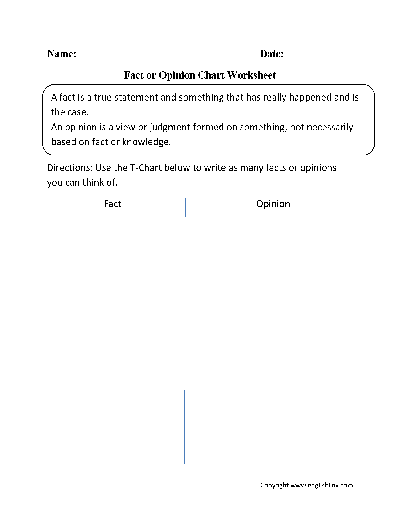 Fact And Opinion Chart Worksheet