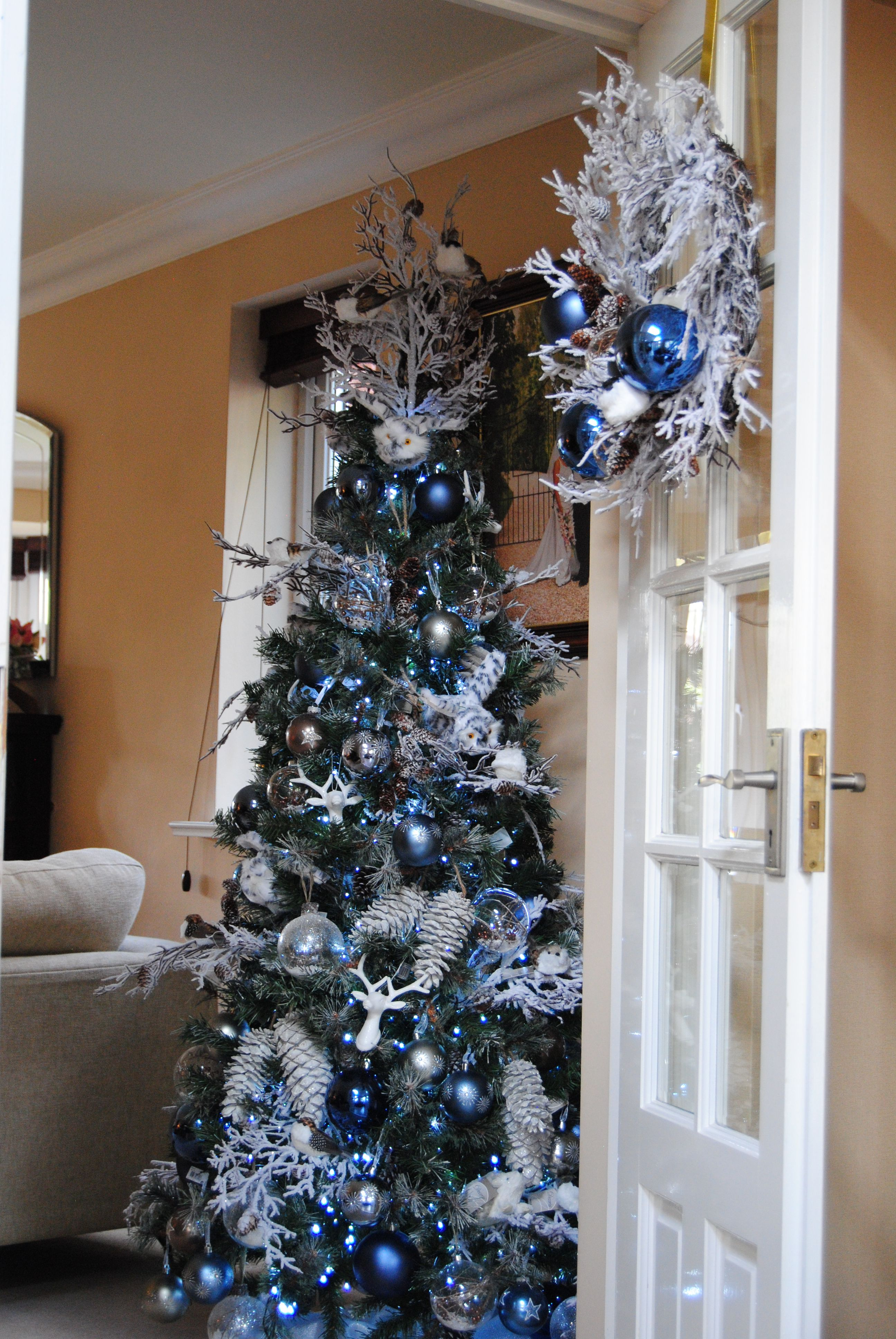 Blue Silver White Blue Christmas Tree Blue Christmas Decor Christmas Wonderland