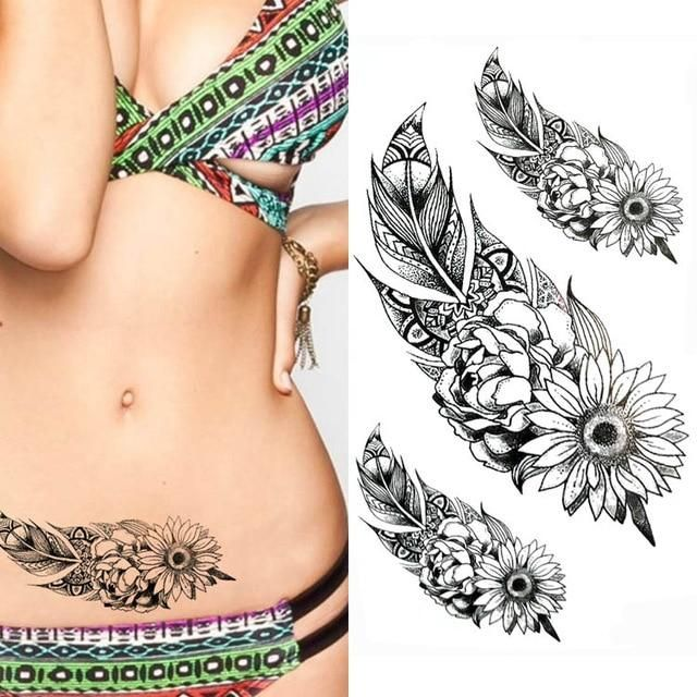 78411487a Temporary Tattoos for Women - Waterproof Tattoo Stickers 10x20cm Black Ink  Tattoos, Face Tattoos,