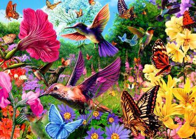 "Картина раскраска по номерам ""Колибри собирают нектар ..."