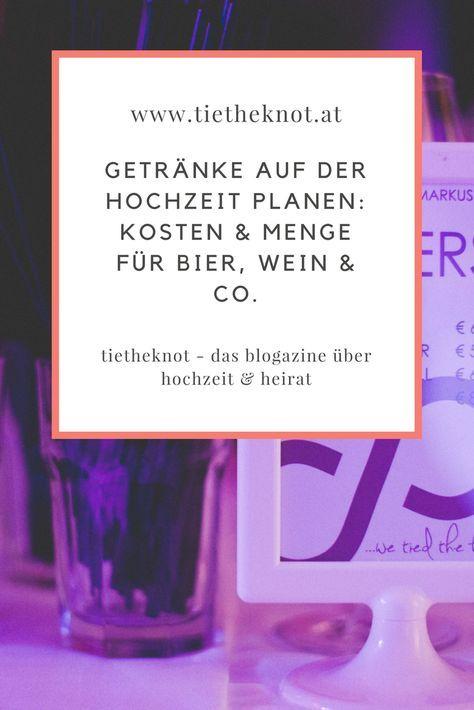 Getränke auf der Hochzeit: Menge und Kosten für die Getränke planen ...