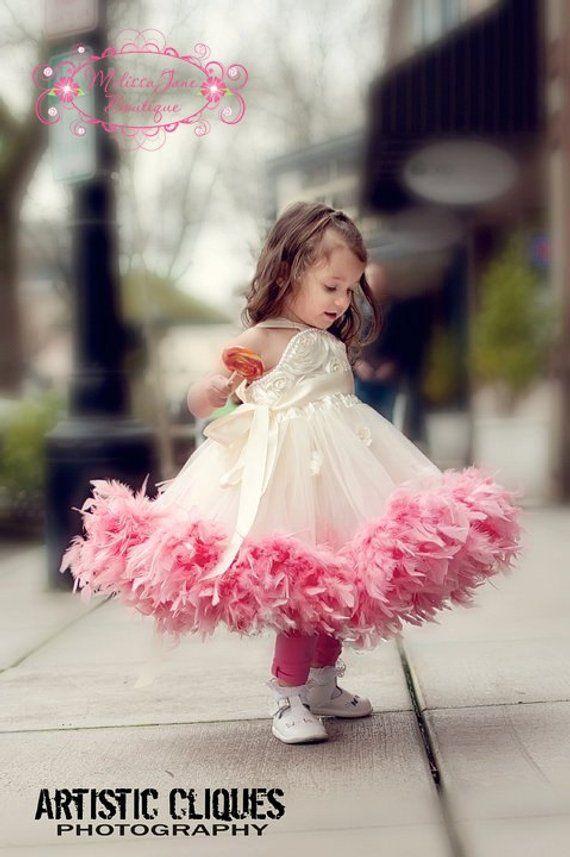 cdbb7fe7ac9 The Original ....... Girls Classic Fluffy Feather Rosette Dress ...