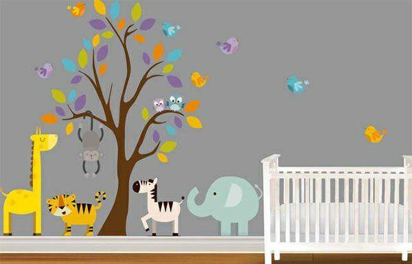 Babyzimmer wandgestaltung tiere  Babyzimmer Wandgestaltung - 15 Wanddeko Ideen mit Tieren | Pinterest ...