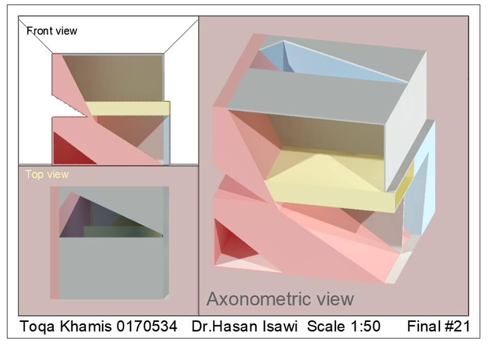 Toqa Khamis الرسم والاظهار المعماري Arch Drawing Representation ل21 نمذجة واظهار مكعب منحوت بايقاع مستمر ثلاث Axonometric View Texture Mapping Texture