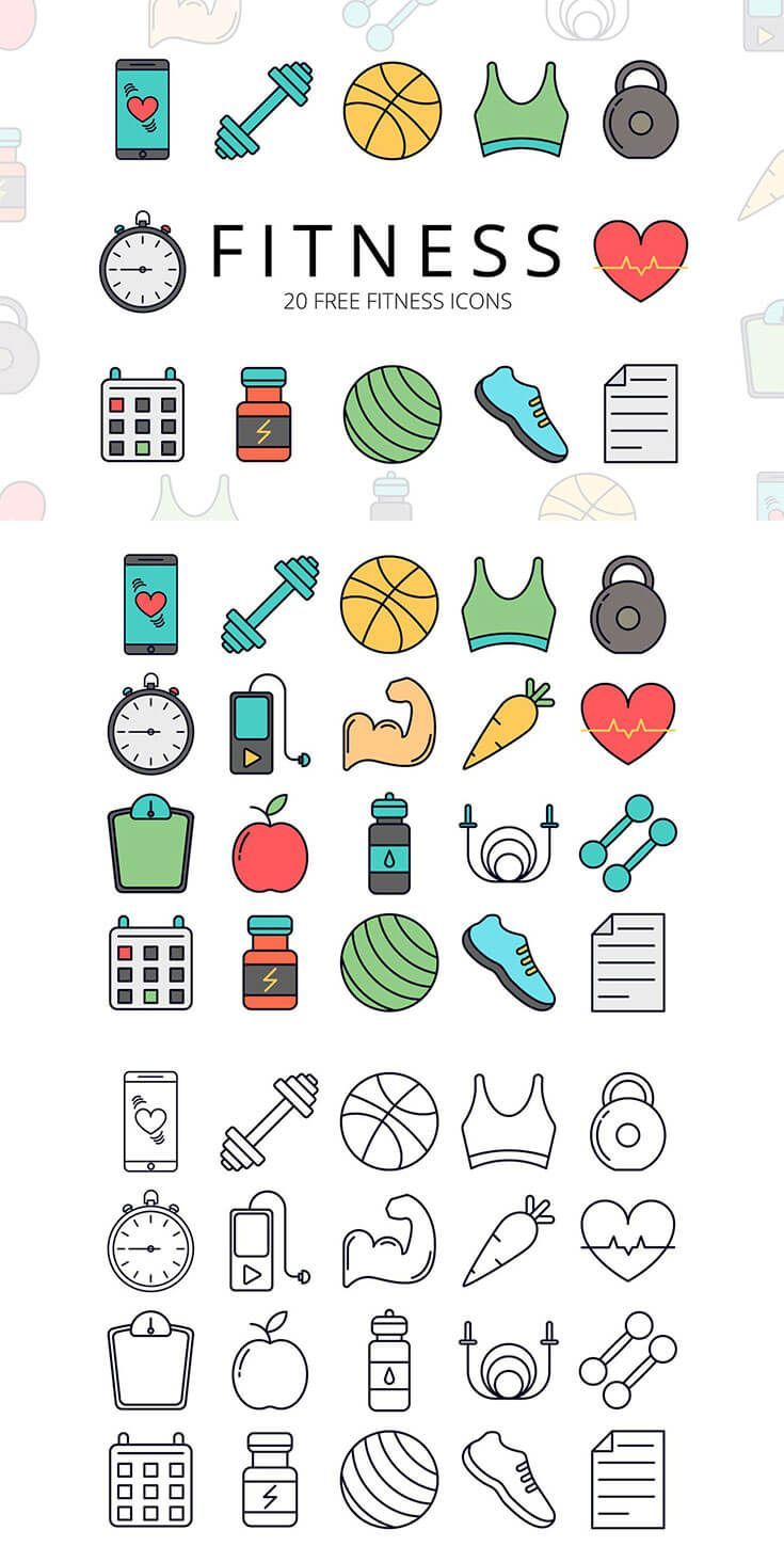 Free #Fitness #Vector #Icon Set is a set of graphics consisting of 20 thematic icons. Each has two o...