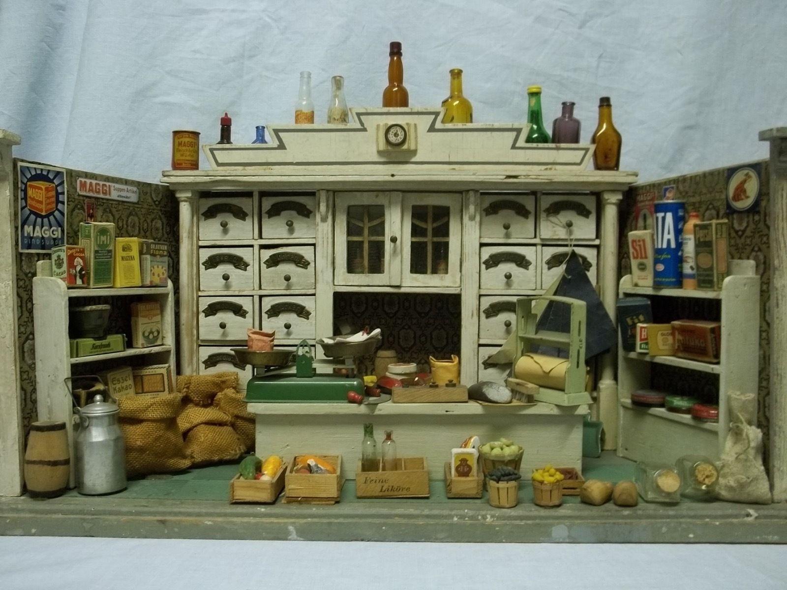 antike gottschalk puppenstube kaufladen tante emma laden mit einrichtung 1920 antique. Black Bedroom Furniture Sets. Home Design Ideas