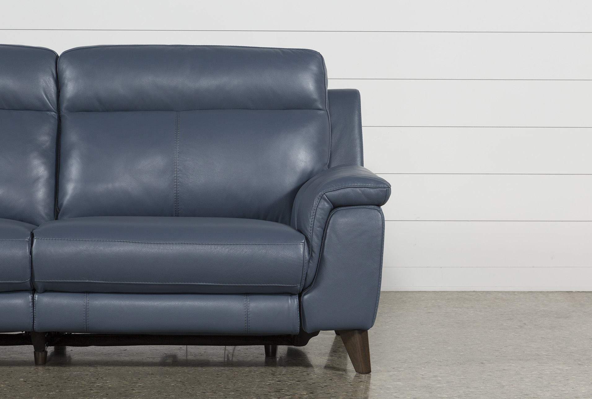 Wondrous Moana Blue Leather Dual Power Reclining Sofa With Usb Dailytribune Chair Design For Home Dailytribuneorg