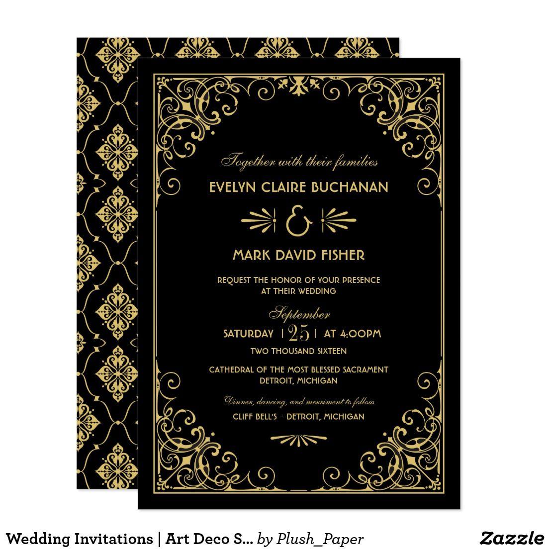 Wedding Invitations Art Deco Style Vintage Wedding Invitations