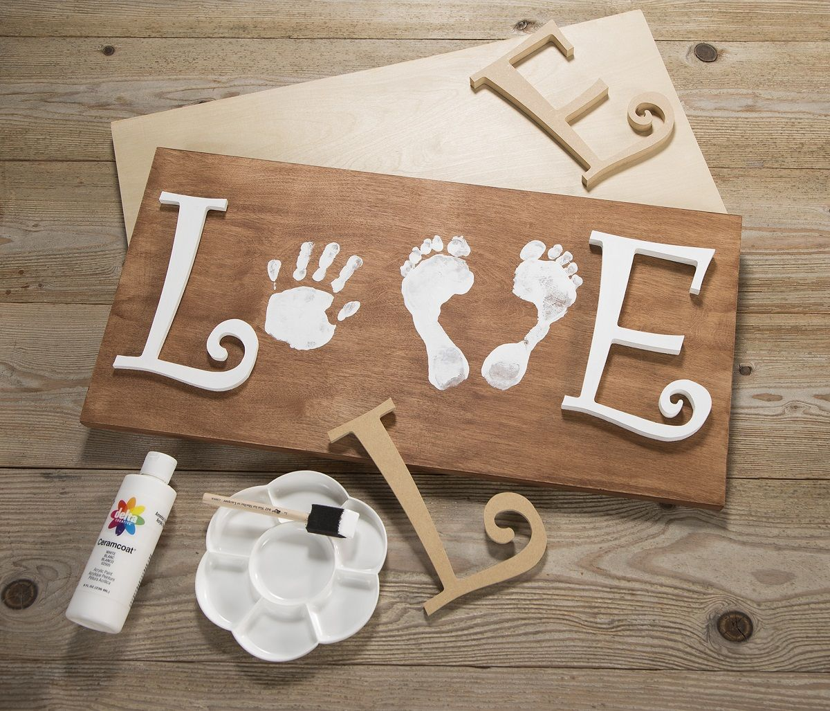 Photo of Love Sign Art with Child's Prints – One of our Most Pinned Posts! | Craft Warehouse