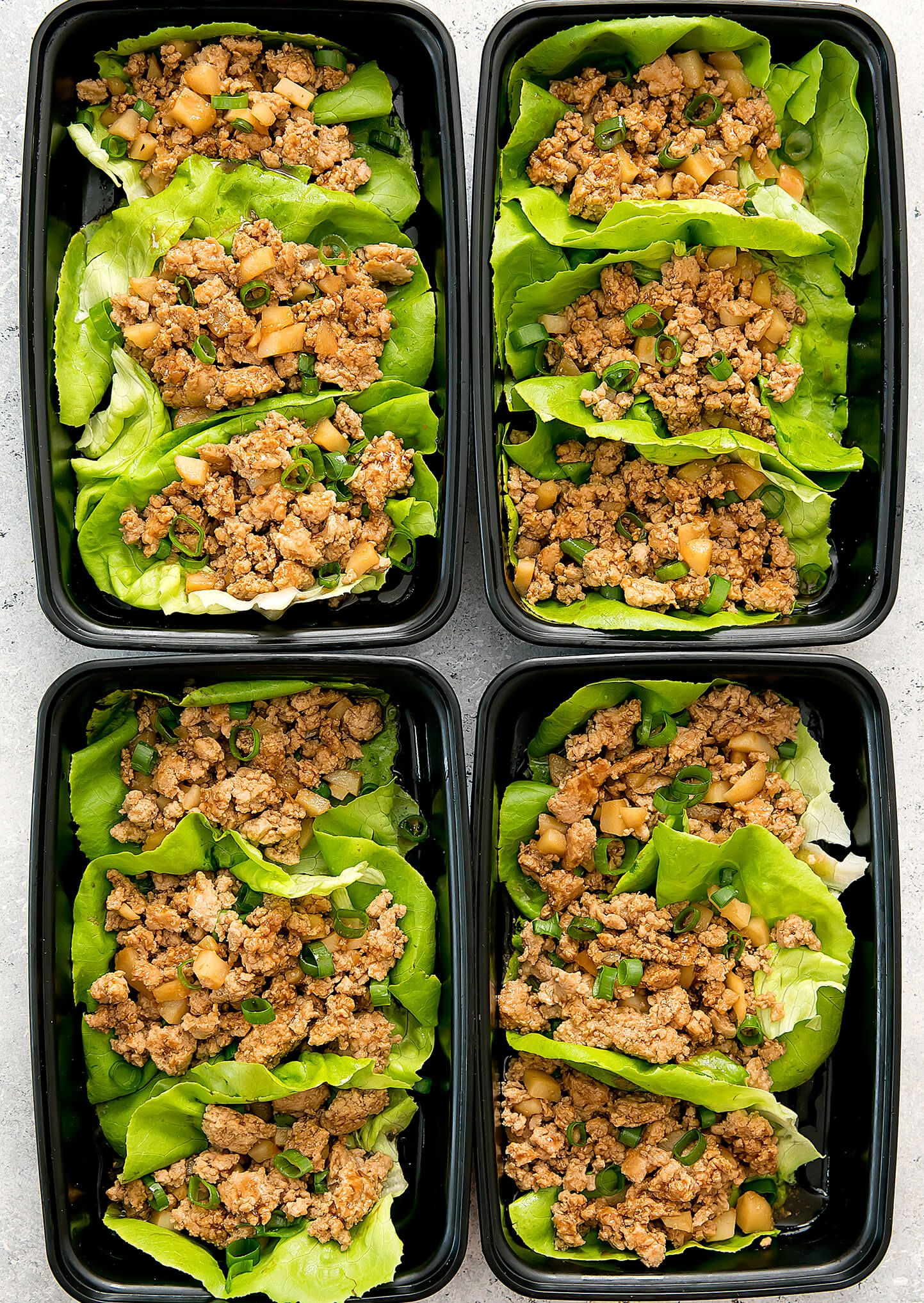 Healthy Chicken Lettuce Wraps (Low Carb Meal Prep)