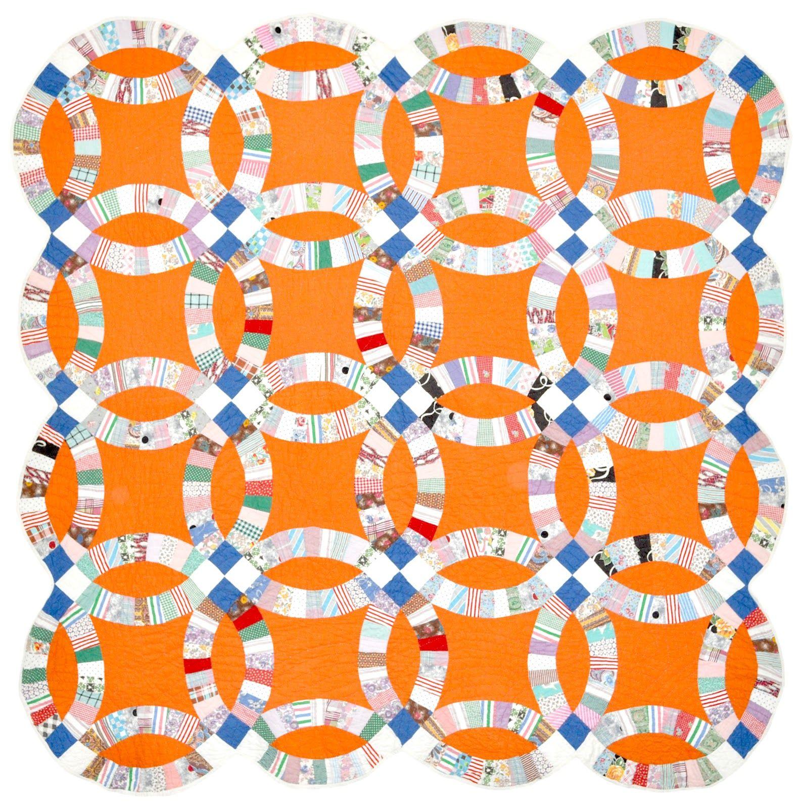 Orange Crush Double wedding ring quilt, c. 1950, posted
