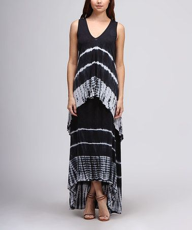 Another great find on #zulily! Blue & White Tie-Dye Chevron Hi-Low Tunic by Urban X #zulilyfinds