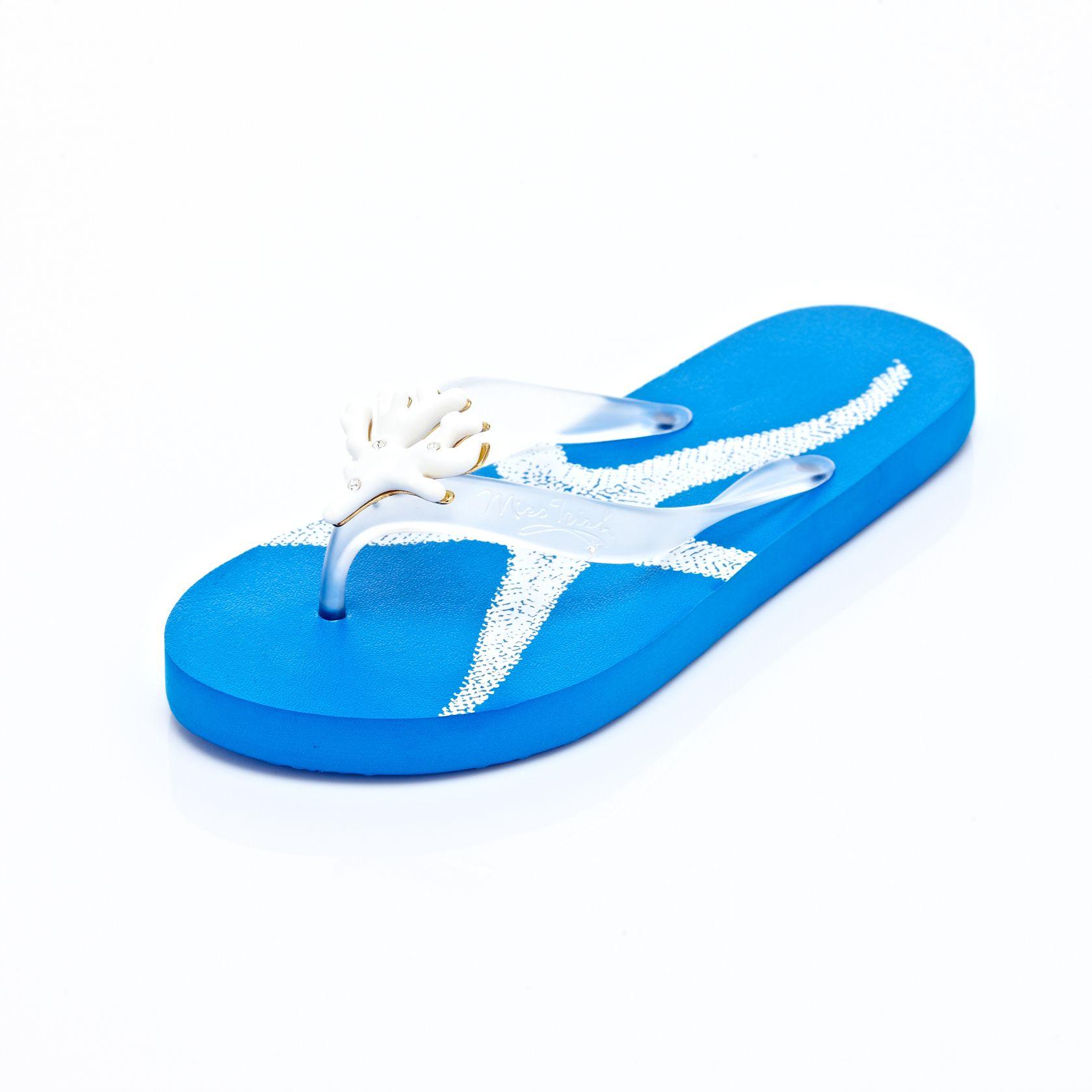 d6a98a3fe9b39 Miss Trish Coral Gloss Summer Sky Blue Flip Flops