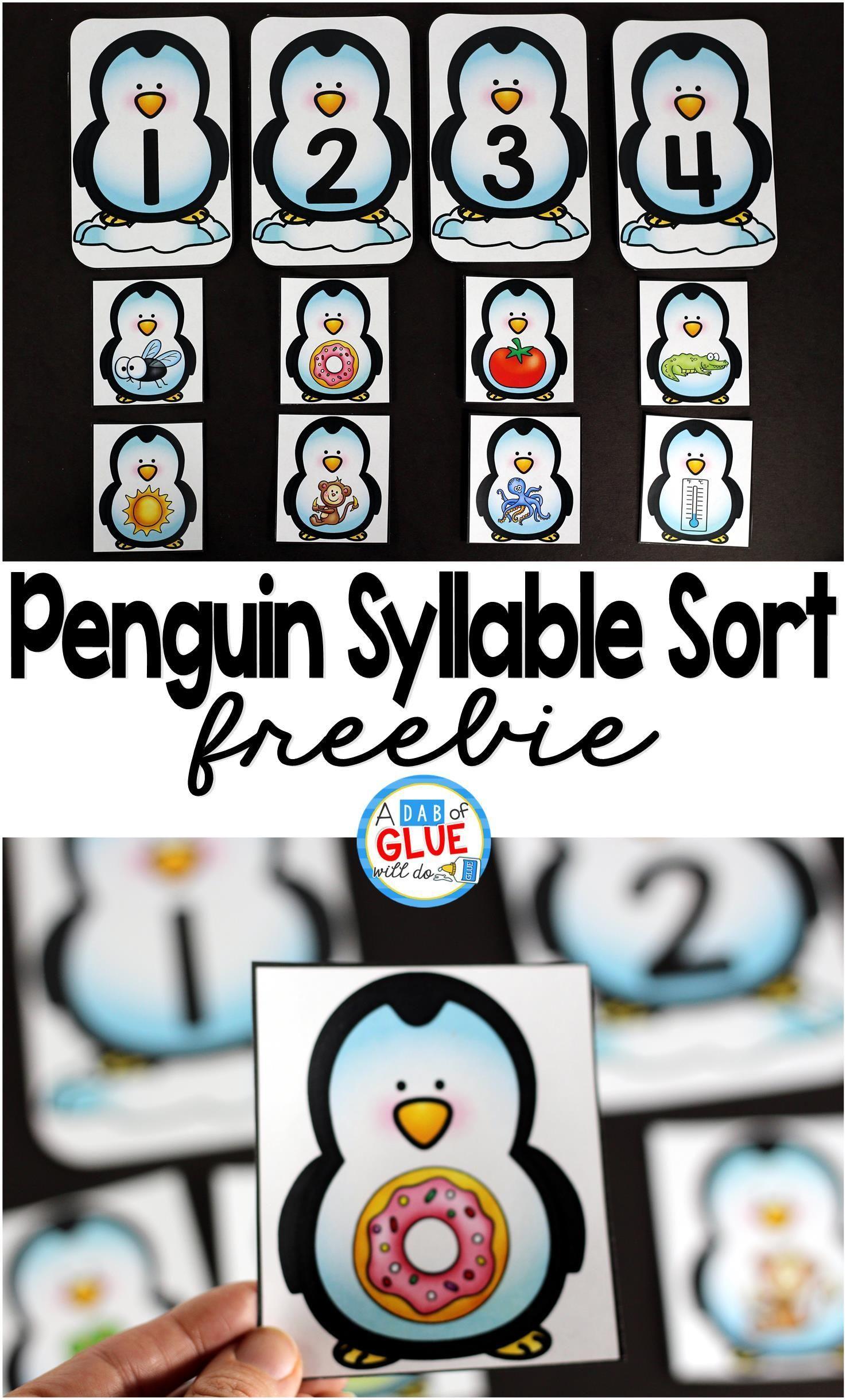 photo regarding Printable Literacy Centers First Grade known as Penguin Syllable Variety Printable B Syllables kindergarten