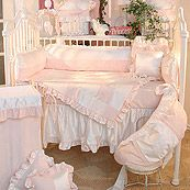 Princess Pink and White Classic Girl Patchwork 4 Piece Crib Set