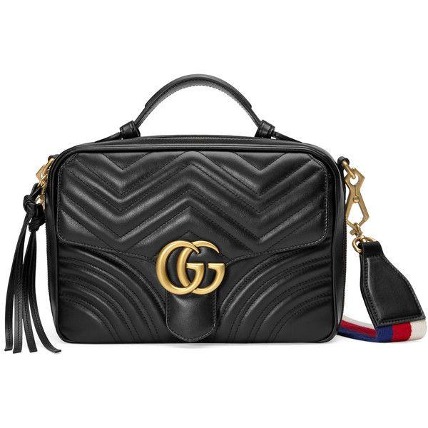 Gucci Gg Marmont Matelassé Shoulder Bag ($1,980) ❤ liked on Polyvore featuring bags, handbags, shoulder bags, black, top handles & boston bags, women, shoulder handbags, man shoulder bag, leather handbags and leather purses