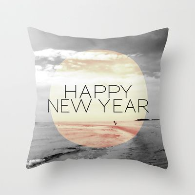 "HAPPY NEW YEAR Throw Pillow by Pia Schneider [atelier COLOUR-VISION] - $20.00.  Photography: Sylt, Northsea, Germany, from 2007. Title: ""In der Ferne"" / ""In the distance""  New Design/Typo: Happy New Year. #photography #piaschneider #ateliercolourvision #happynewyear #blackandwhite #typography #beach #sky #ocean #sea #northsea #sylt #germany #europe #pillow #throwpillow #cushion #home #decor #hometextile"