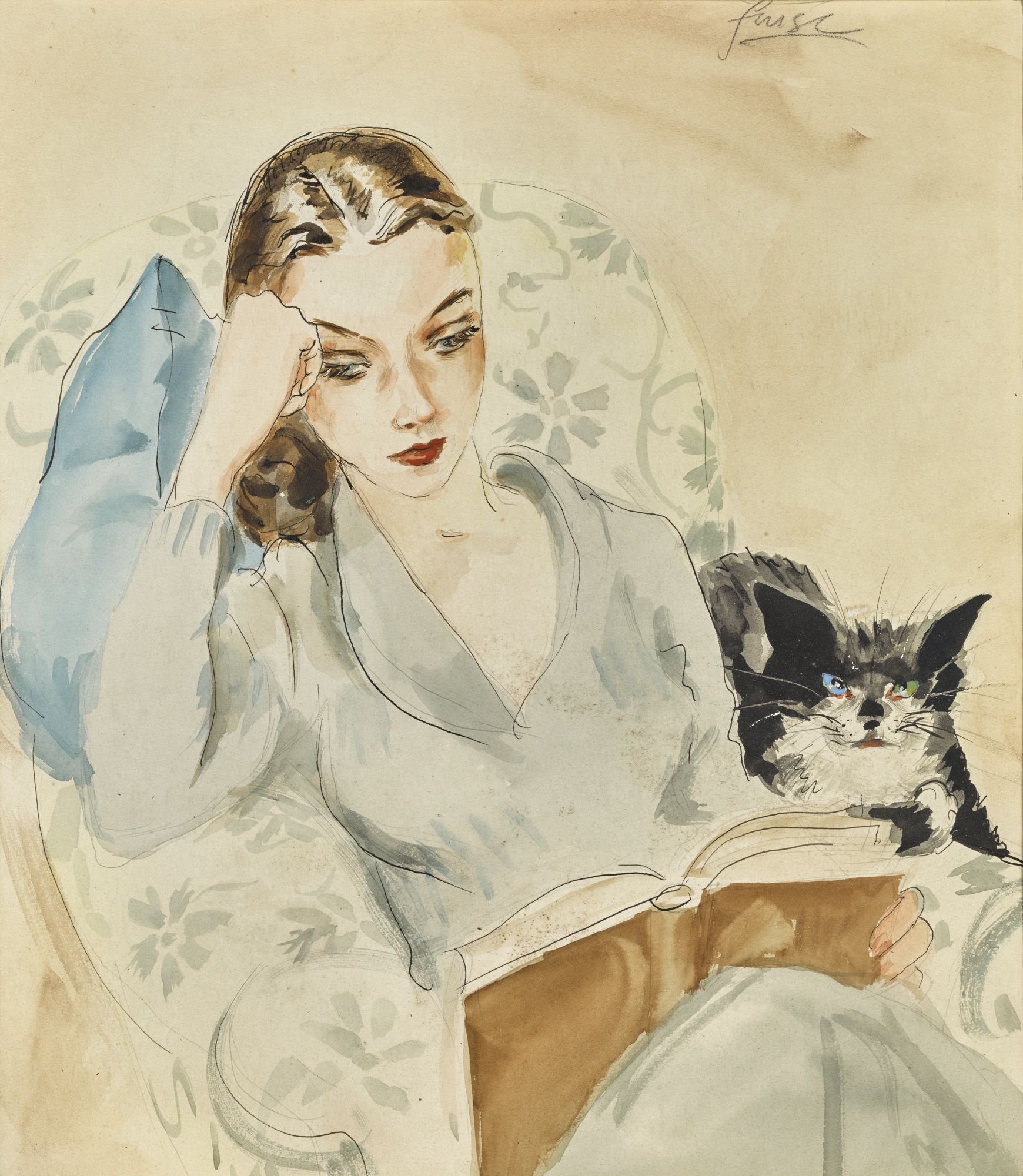 Watercolor books for sale - Vivien And Tissy Watercolor By Roger Furse For Sale In The Vivien Leigh Estate Auction Sotheby S