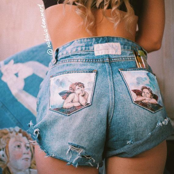 Handbemalte Jeans Taschenbemalte Jeansshorts Mom Jeans Handbemalte Kleidung Taschenbemalte Jeans Fe   #WomenShorts #wearableart