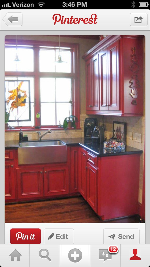 Kitchen   Red kitchen cabinets, Kitchen inspirations ...