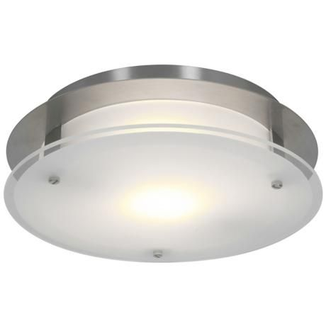 Access vision round 12 wide brushed steel led ceiling light 4k737 lamps plus overhead lightingflush lightingflush mount