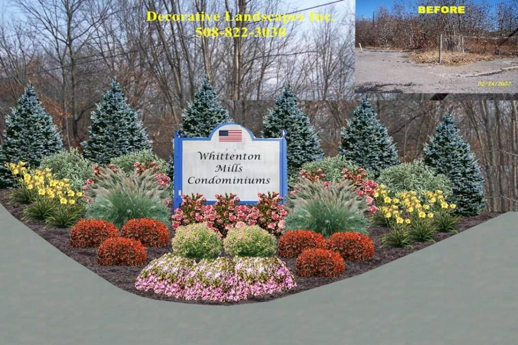 Commercial Sign Area Planting Bed Design, Landscape Design