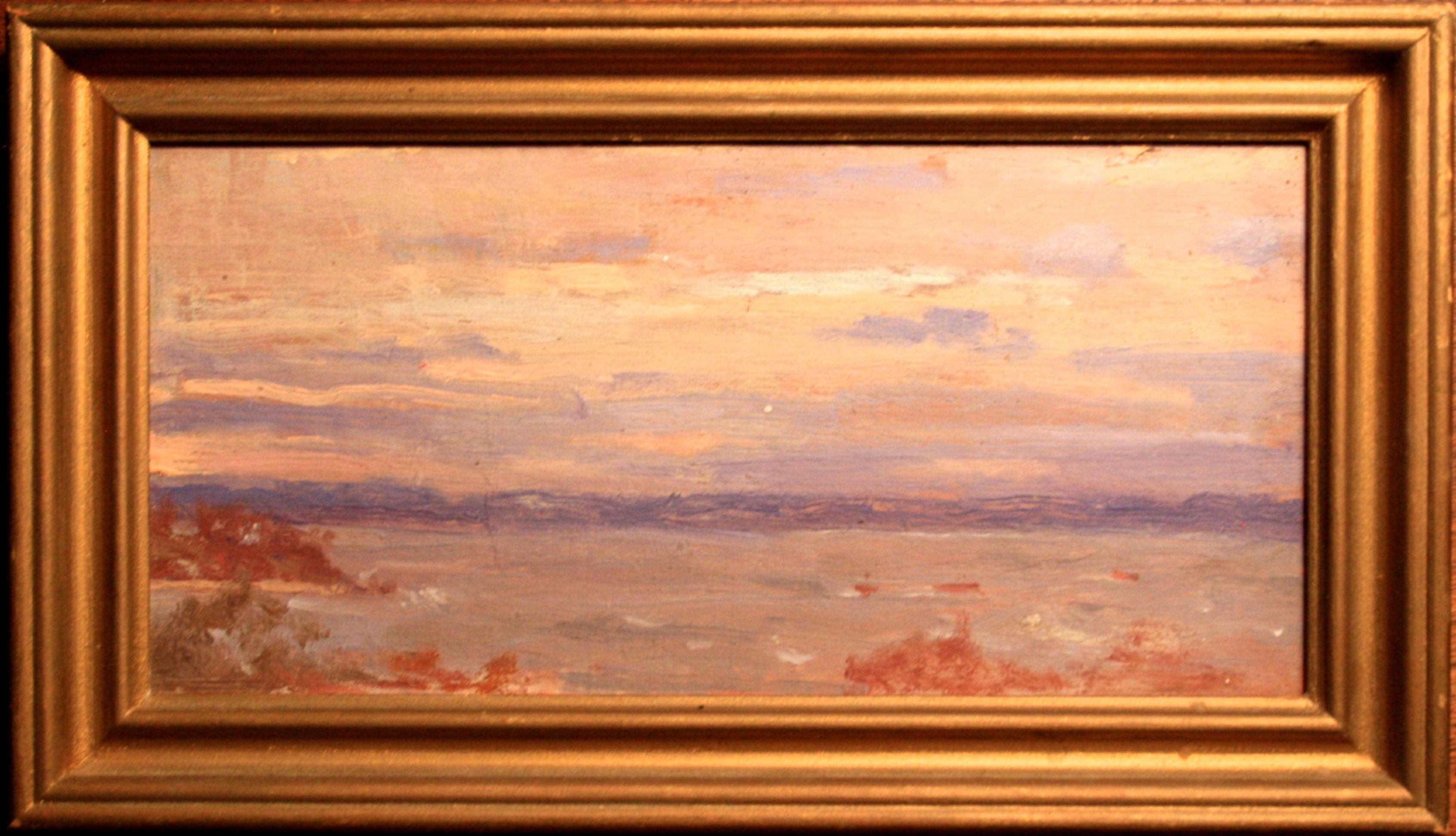 Emma Eilers' Oil on mahogany. Painting purchased in a Roslyn, NY antique store. Sea Cliff Beach. Private Collection of IP. Dated 1909 in pencil on the back of the painting. Emma Eilers 1940's is pencilled on the brown paper affixed to the back of  frame itself.