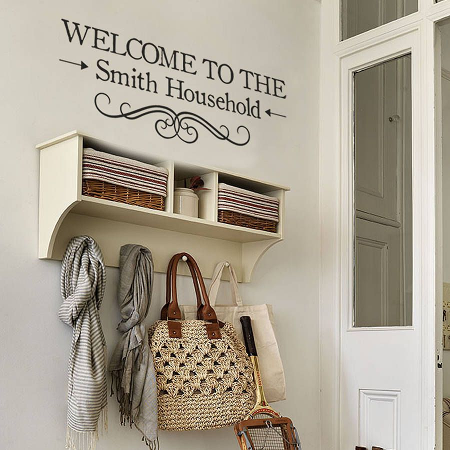 welcome personalised vinyl wall sticker home small on wall stickers for hall id=63421