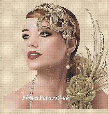 free uk P/&p..... Cross stitch chart Art Deco Lady 4a  FlowerPower37-UK