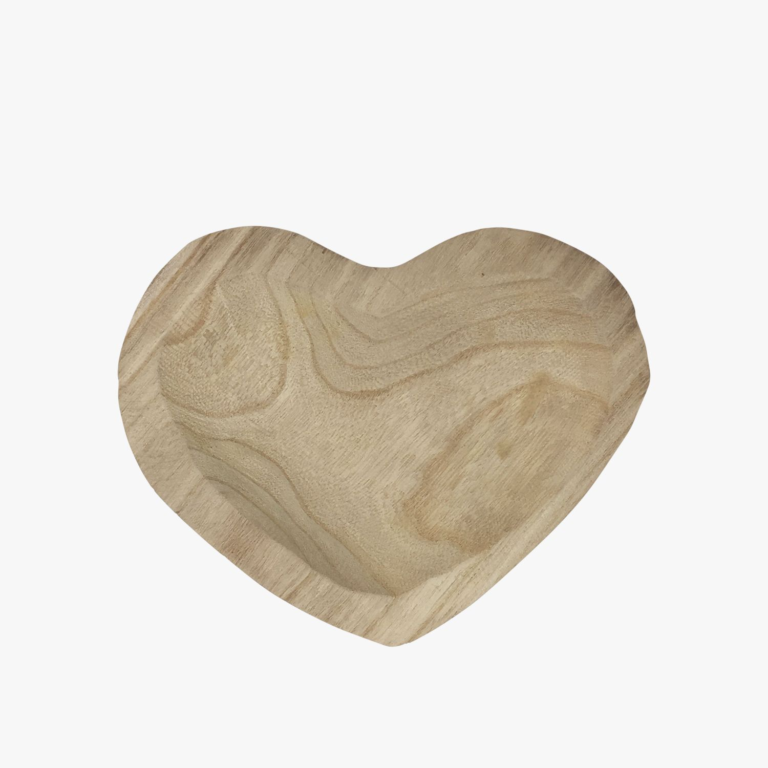 Hand Carved Paulownia Wood Heart Bowl Large Wood Bowl Wood Hearts Wood Bowls