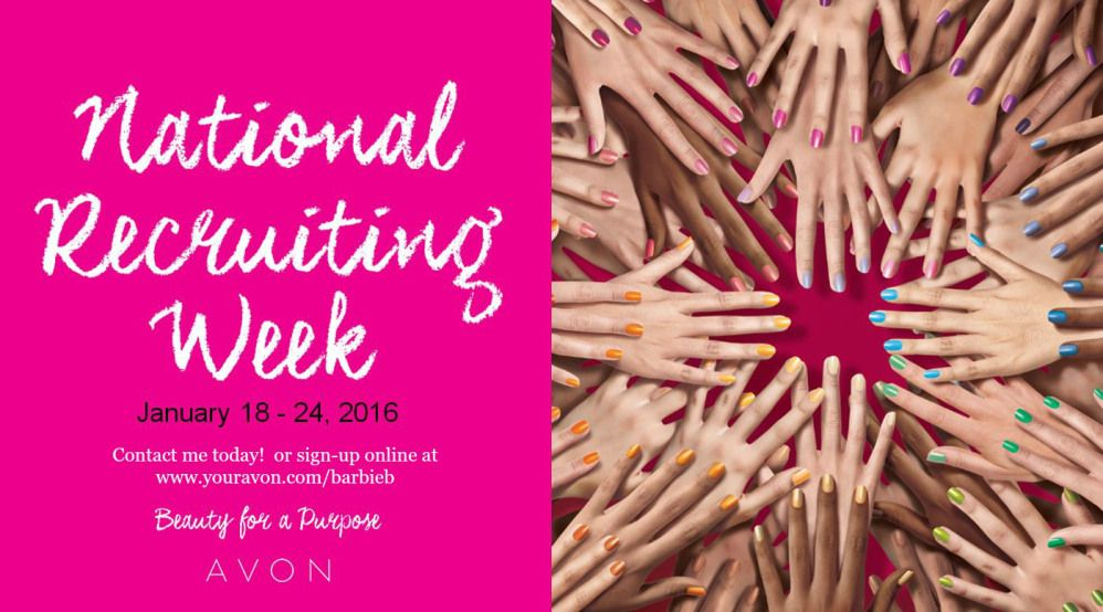 Become an Avon Representative - Natinal Recruiting Week January 18-24, 2016 - $15 to join - for more information visit http://thebeautyinyoublog.com and to sign up visit https://barbieb.avonrepresentative.com and click 'join now' avon - national recruiting week