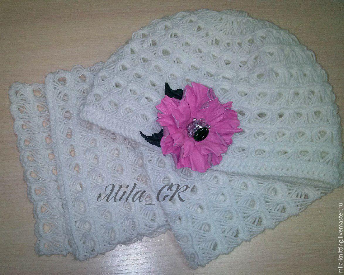Купить Шапка и шарф. - белый 8615d3a928576