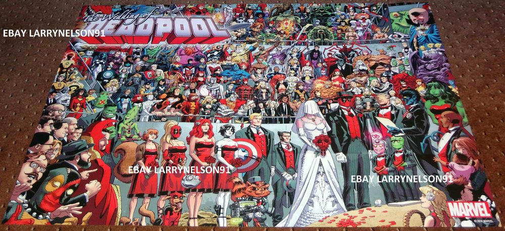 Deadpool Wedding Marvel Comic Book Promo Poster 24x36 Guinness World Record Now Marvel Comic Books Guinness World World Records