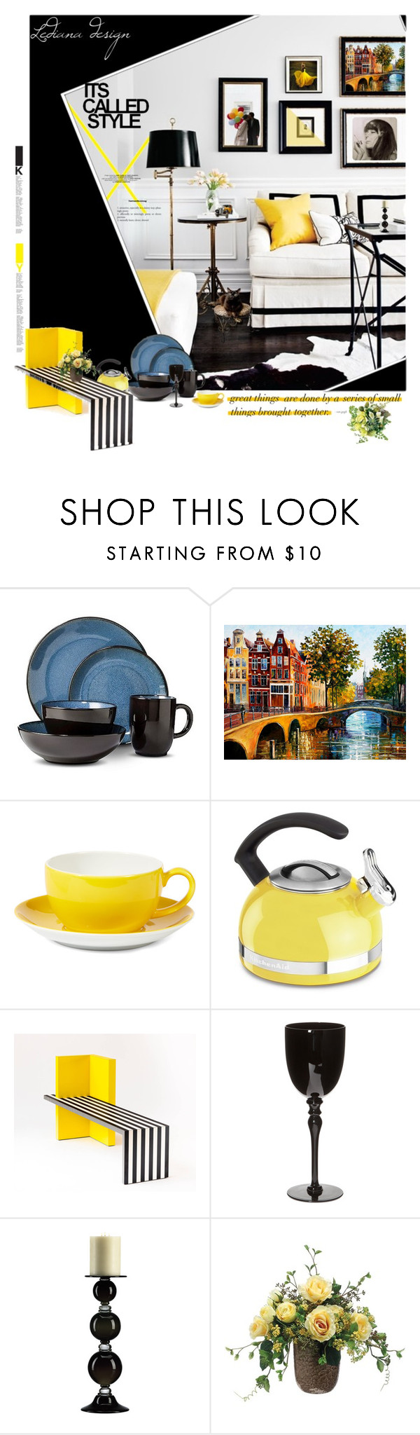 """""""Yellow & Black"""" by ledianaaaaa ❤ liked on Polyvore featuring interior, interiors, interior design, home, home decor, interior decorating, Threshold, Dibbern, KitchenAid and Guide London"""