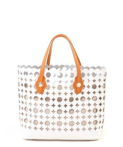 Spartina Boutique Leather Daisy Tote White