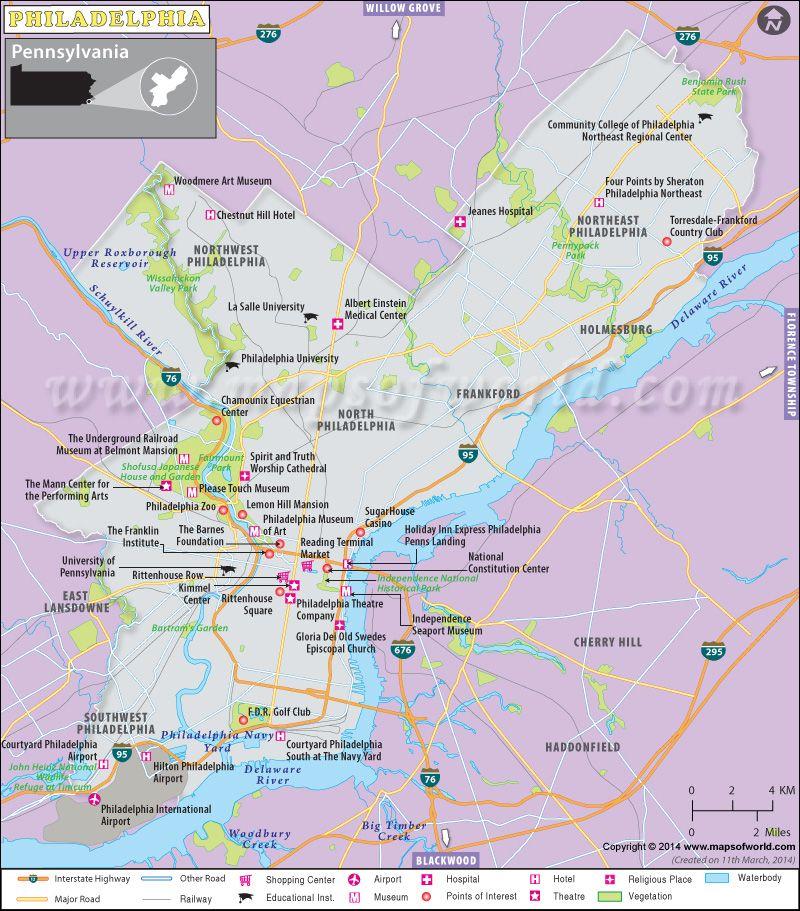 Philadelphia Map Pennsylvania World News Pinterest - Philadelphia map