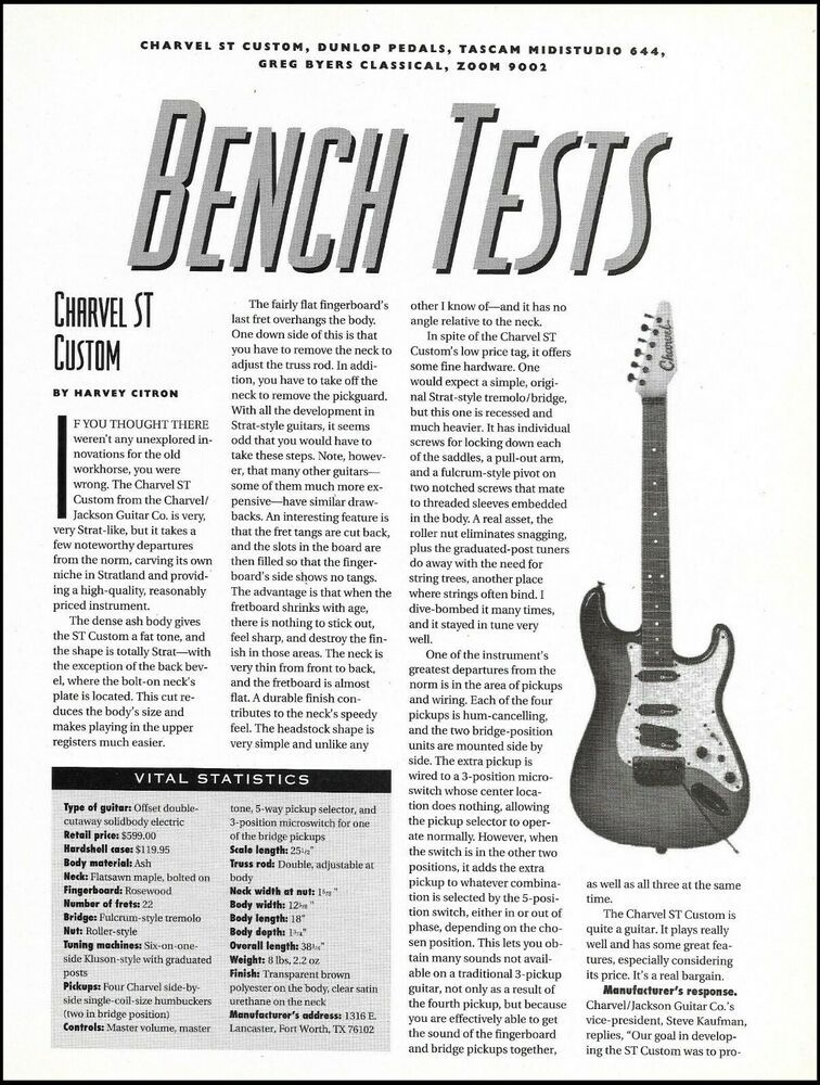 Charvel St Custom Guitar 1990 Sound Check Review 2 Page Article With Specs Charvel In 2020 Guitar Reviews Custom Guitar Guitar Pics