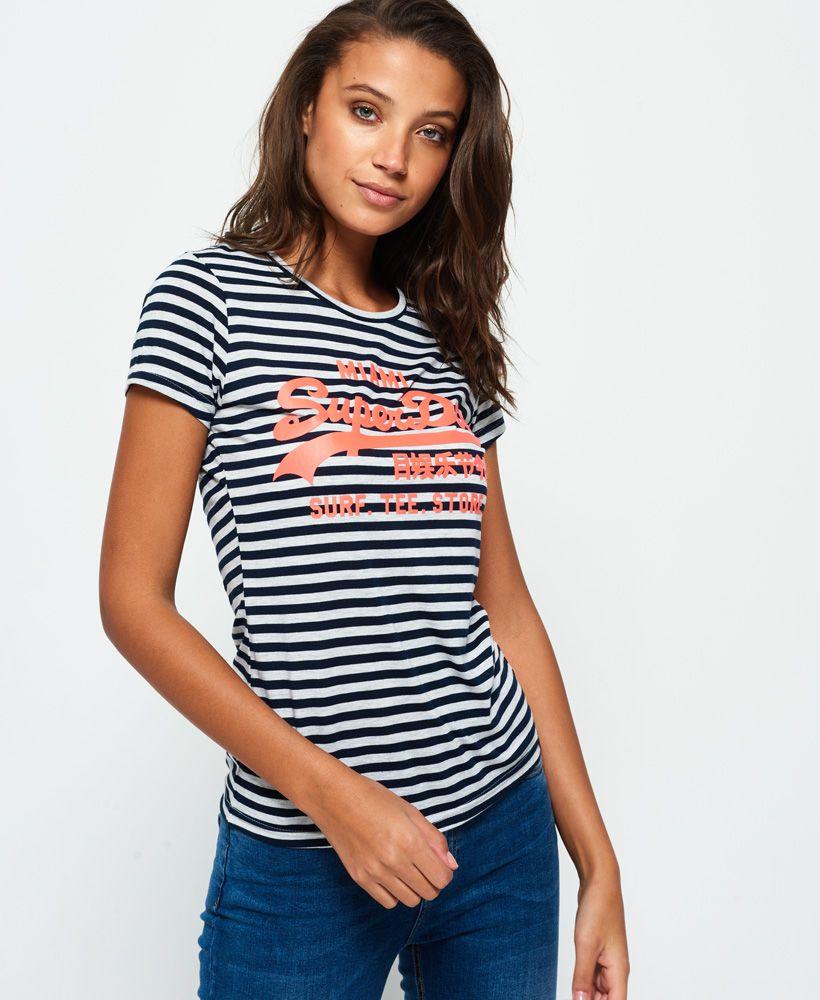 Superdry Vintage Logo Stripe T Shirt T Shirts For Women Designer Outfits Woman Streetwear Women