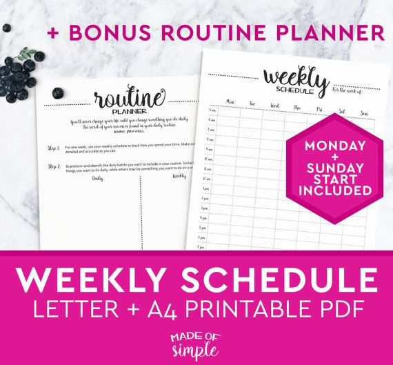 Includes Sunday And Monday Start Versions Use This Weekly
