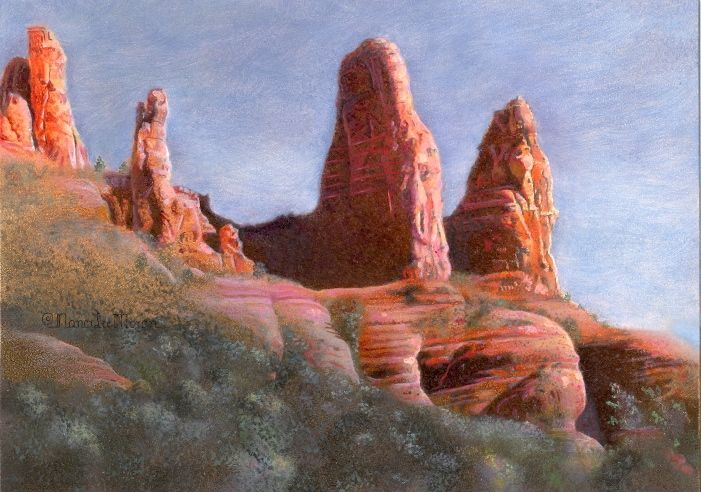 """Sedona Series #4 by artist Nancy Lee Moran in February 2012, $220, """"Pillars of Red Rock"""" is a small oil painting. These rock formations near Sedona express strength and dignity. See the layers of rock, eroded by eons of wind and rain.  (18 x 12.5 cm centimeters) (5x7 inches)"""
