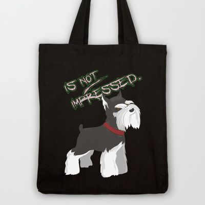 Miniature Schnauzer Puppy Dog | Terrier w Attitude / Angry Tote Bag by Tazmaa's Anime & Illustration Studio - $18.00
